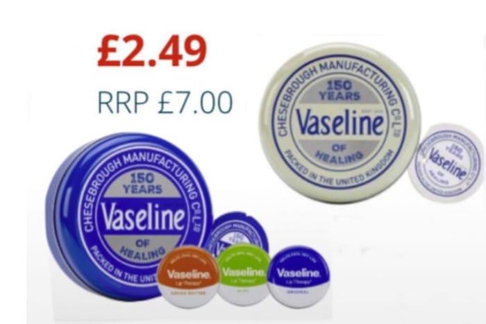Vaseline White and Original Selection Lip Balm Tin 3 Piece Set: Each Set £2.49