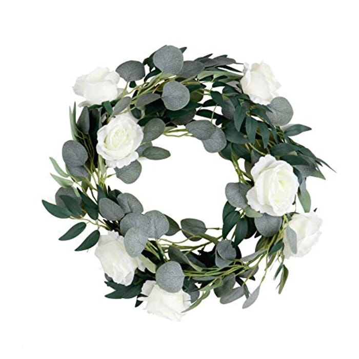 Artificial Garland White Roses Willow Leaves Faux Silk Eucalyptus 2m
