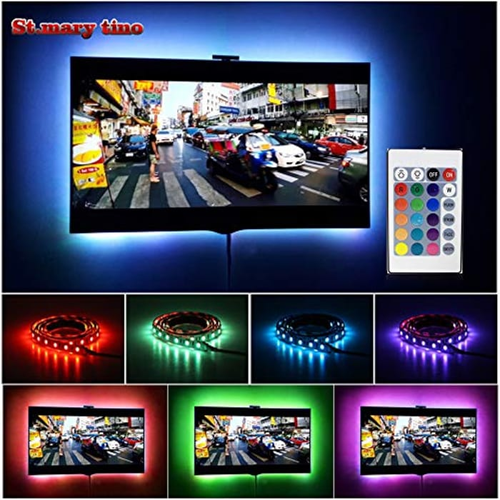 LED Strip Lights with Remote for 20-60 Inch TV - USB Powered - 3.28FT