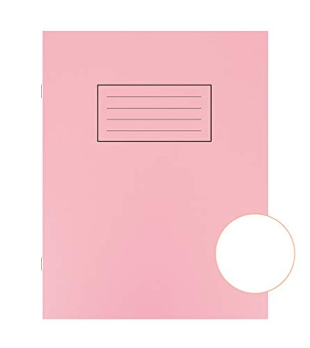 Pack of 10 Silvine Exercise Book Plain 75gsm 80 Pages 229x178mm Pink