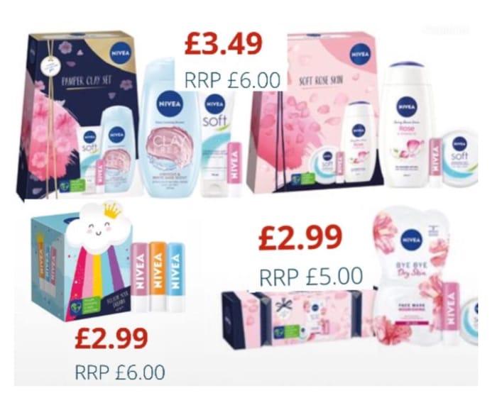 Nivea:Pamper Clay & Soft Rose Skin Gift Sets/Nivea What a Cracker Gift Set £2.99