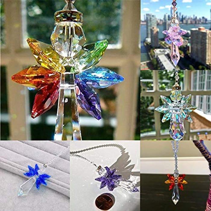 1PC Modern Rainbow Crystal Angel Chakra Suncatcher - Only £4.49!