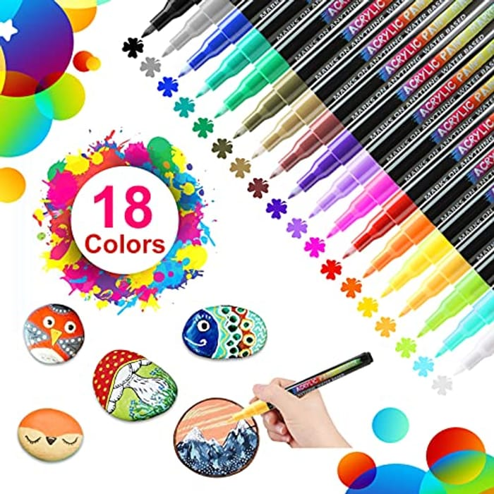 18 Colors Acrylic Paint Pens Permanent Acrylic Markers for Manual DIY (0.7mm