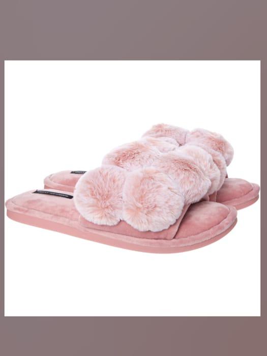 PRETTY YOU LONDON Dolly Pink Faux Fur Pom Pom Slippers