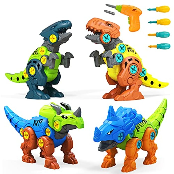 Kizmyee 4 Pack DIY Dinosaur Toys Set with Electric Drill - Only £9.98!