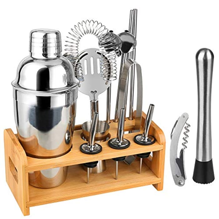 14pcs Stainless Steel Cocktail Making Set with Bamboo Holder - 530ml