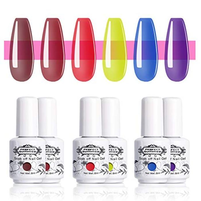6 Piece Translucent Gel Nail Polish Set