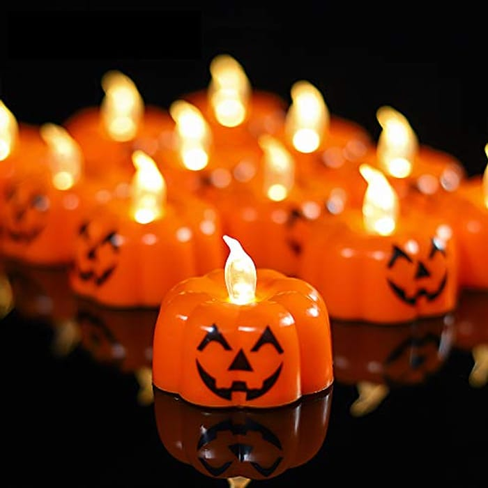 Flameless LED Pumpkin Tealight Candle: Pack of 15