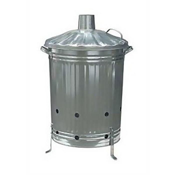Garden Galvanised Steel Incinerator / Fire Bin with Lid - 85L