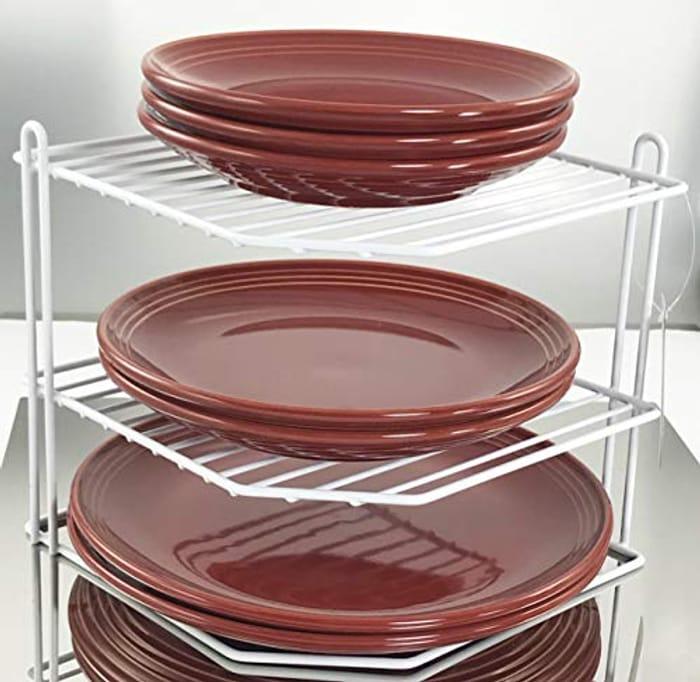 LIGHTNING DEAL - Buckingham 3 Tier Corner Plate Kitchen Cupboard Organiser Rack