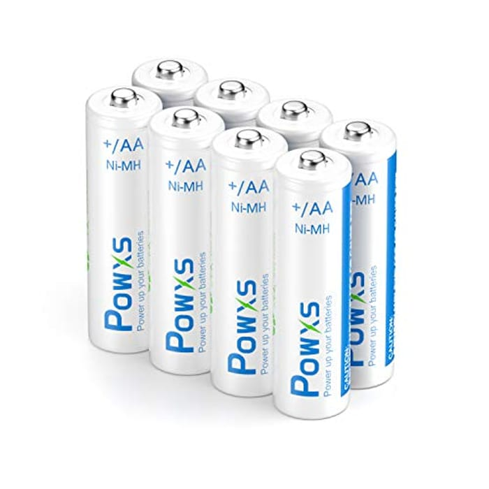 POWXS Rechargeable AA Batteries 2000mAh 8 Pack with Cases - Only £5.20!
