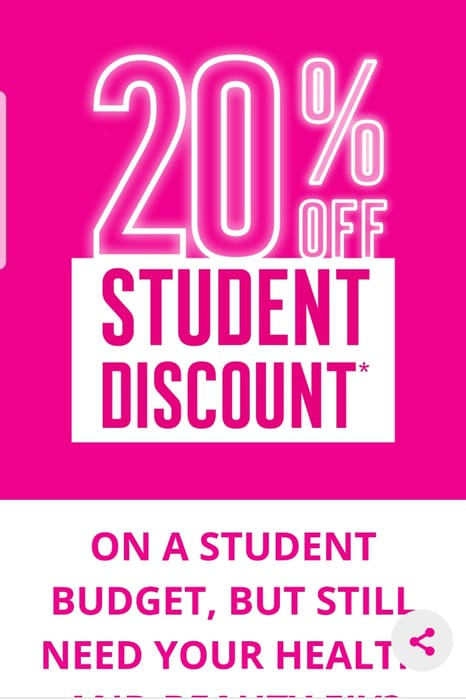20% Student Discount With Your Health And Beauty Card Today Only