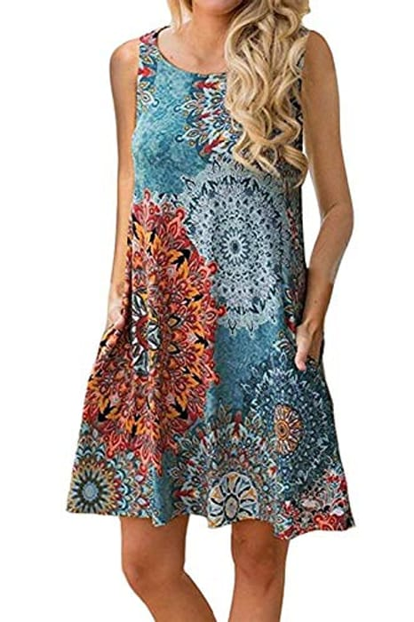 N\C Women's Summer Casual round Neck Floral Printed Dress - Only £2.99!