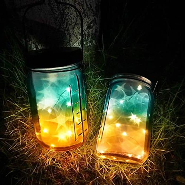 2 Pack Solar Mason Jar Lights Outdoors with 30 LED (Promo Code 8SROLHOE)