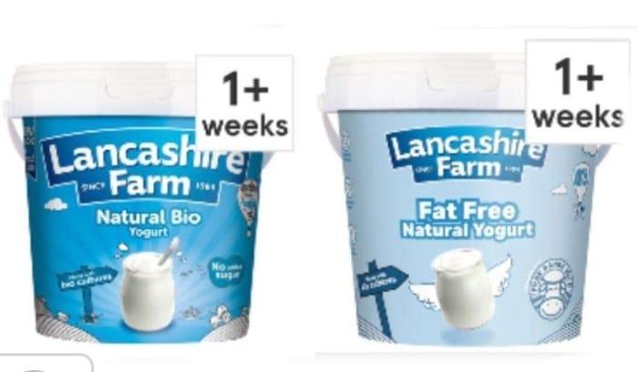 Lancashire Farm Natural Fat Free And Whole Milk Yogurt 1Kg Each £1.20 Clubcard