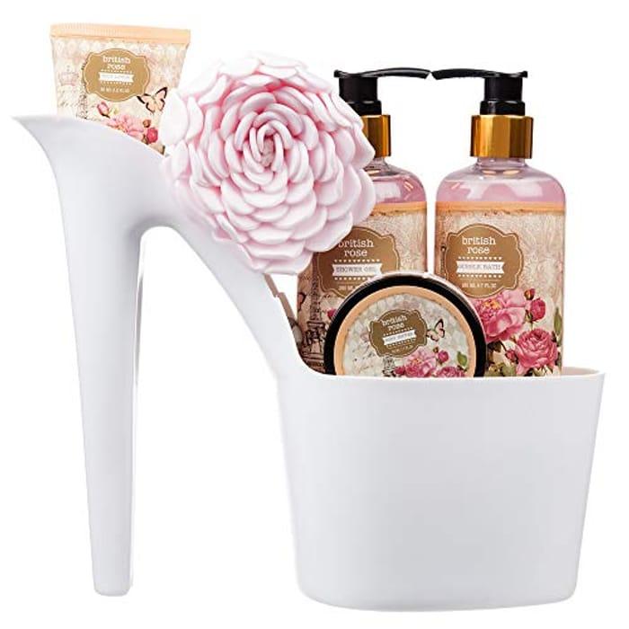 5 Piece Stylish British Rose Body & Bath High Heel Shoe Gift Set