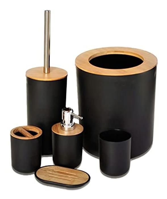 Belcka - 6 Pieces Bamboo Bathroom Accessories-