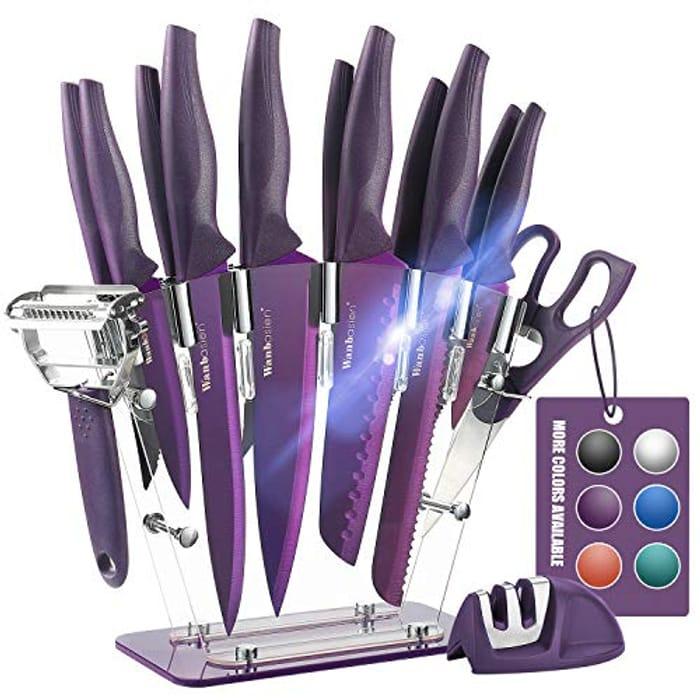 16 Pieces Purple Kitchen Knife Set