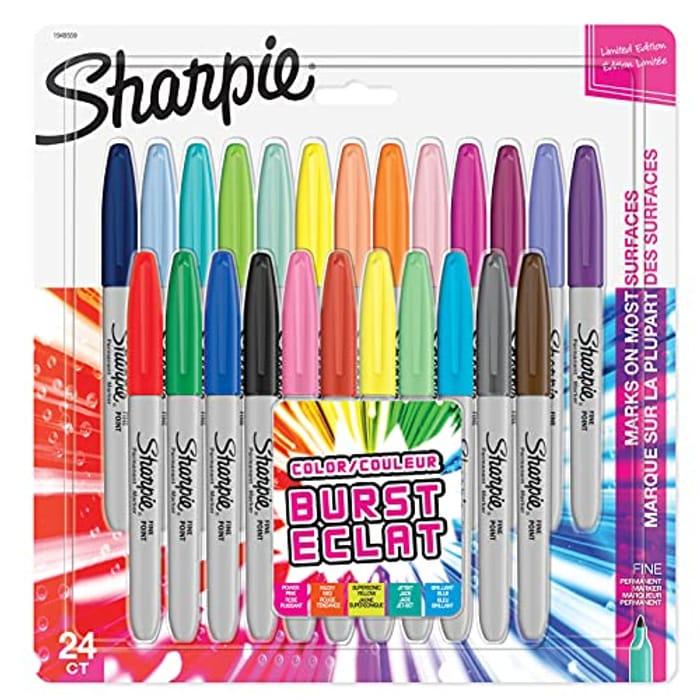 Sharpie Permanent Markers | Fine Point | Colour Burst | 24 PACK