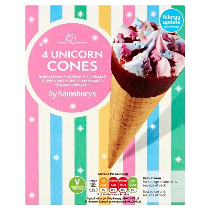 Sainsbury's Unicorn Cone X4 110ml