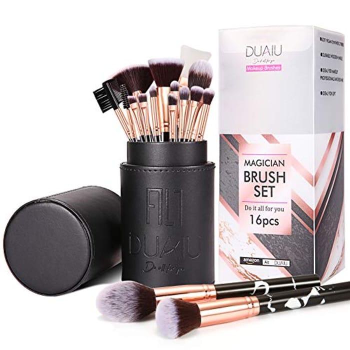 16PCS Makeup Brushes Set with Makeup Brush Holder and Gift Box
