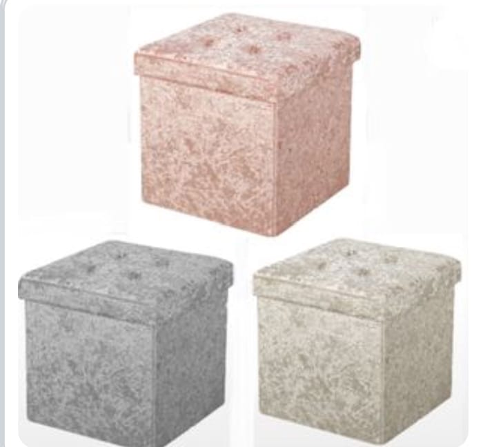 Home Collections Foldable Small Crushed Velvet Ottoman Grey/ Blush/ Beige