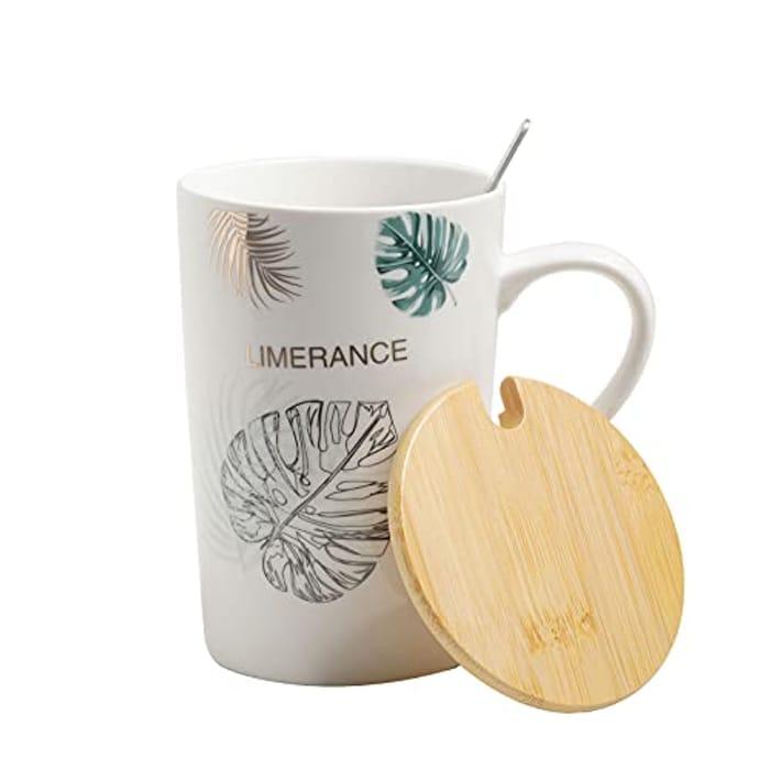 Ceramic Coffee Mug with Lid and Spoon, 14oz/400ml
