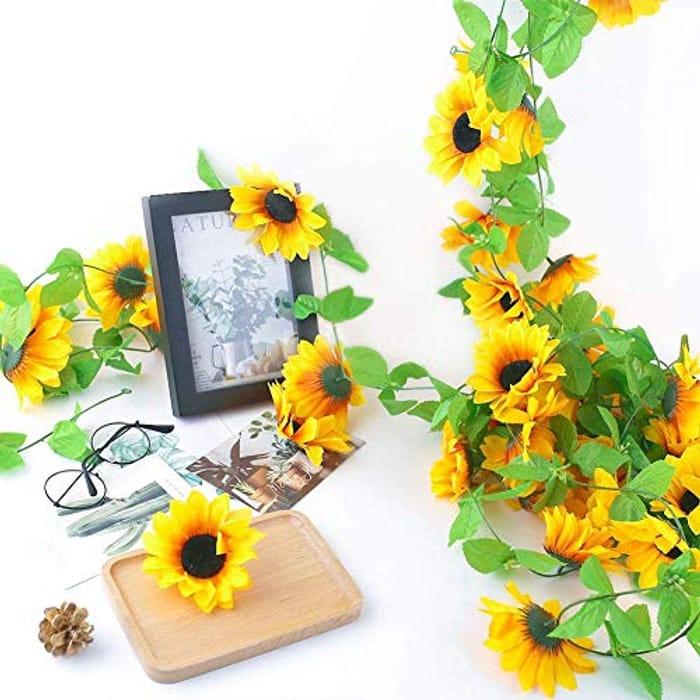 2pcs Artificial Sunflower Garlands - 2.4m