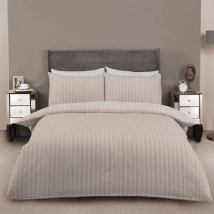 68% off Striped Cotton Double Duvet Set at Julian Charles + Free Delivery