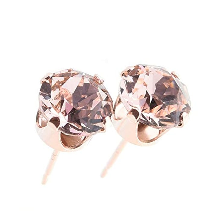 Pewterhooter Classic Collection Sterling Silver Rose Gold Plated Stud Earrings