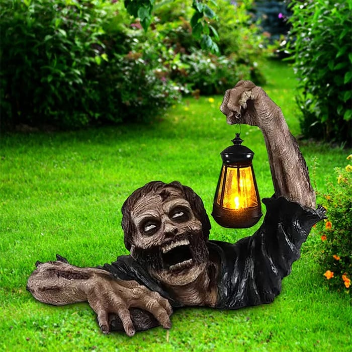 Zombie Statue with LED Lantern, Creative Scary Zombie Sculpture