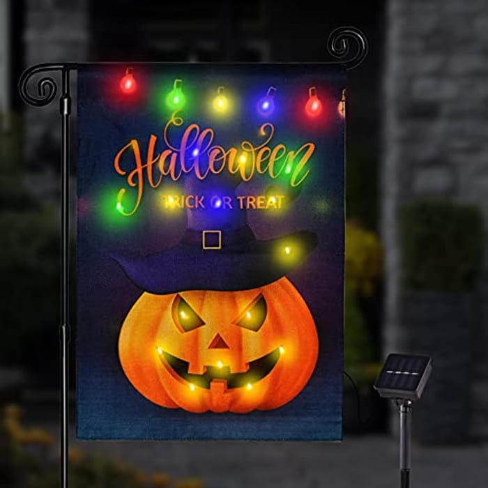 Halloween Decorations Garden Flag with 8 Lighting Modes