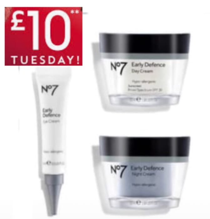 No7 Early Defence Day & Night Cream 50ml,No7 Early Defence Eye Cream 3 For £18