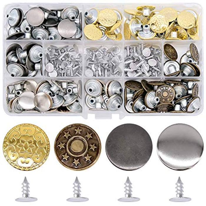 120 Pcs Trousers Buttons Metal Replacement