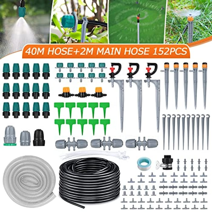 Micro Drip Garden Irrigation System with Adjustable Nozzle Sprinkler - 42m/138ft
