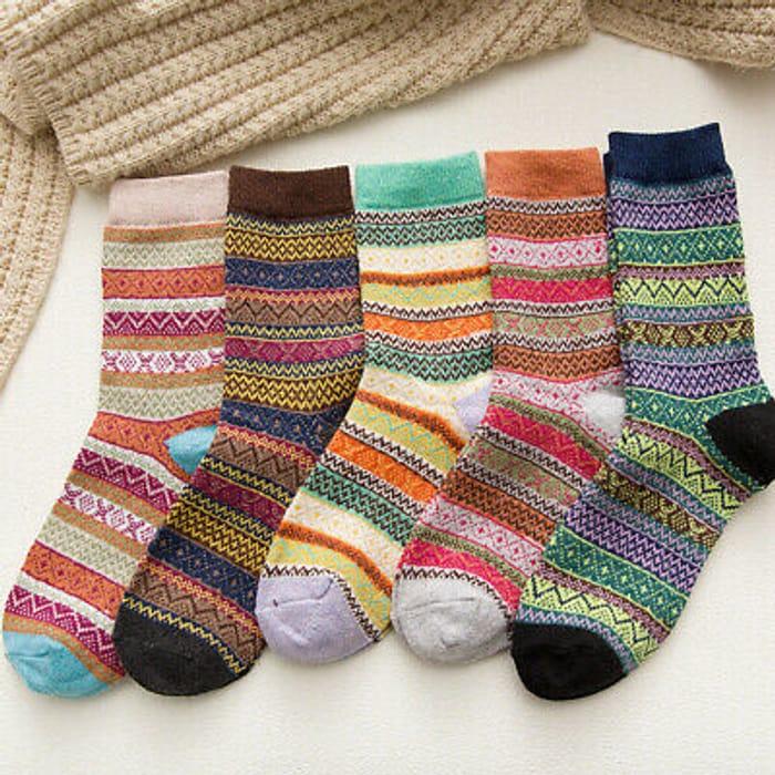 5 Pairs Thick Rich Wool Hike Chunky Sock Thermal Socks Mens