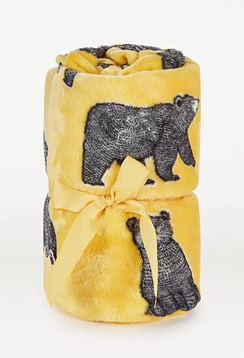 CUTE! Yellow Bear Super Soft Throw 120cm X 150cm - £4.80 Free C&C