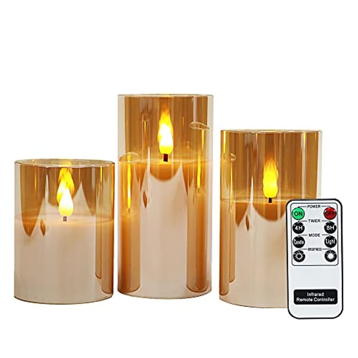 Gold Glass Battery Operated Candles with Remote with £15 off Coupon