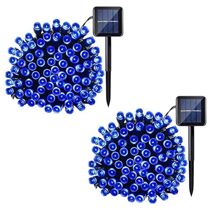 2 Pack 200 LED Solar String Lights, 22M/72ft String Lights - Only £8.99!