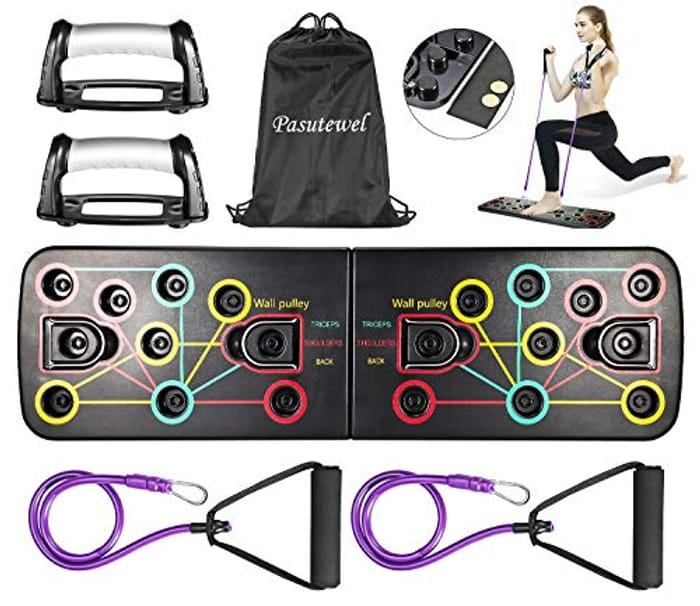 LDALAX Push up Board System with Fitness Bands - Only £8.99!