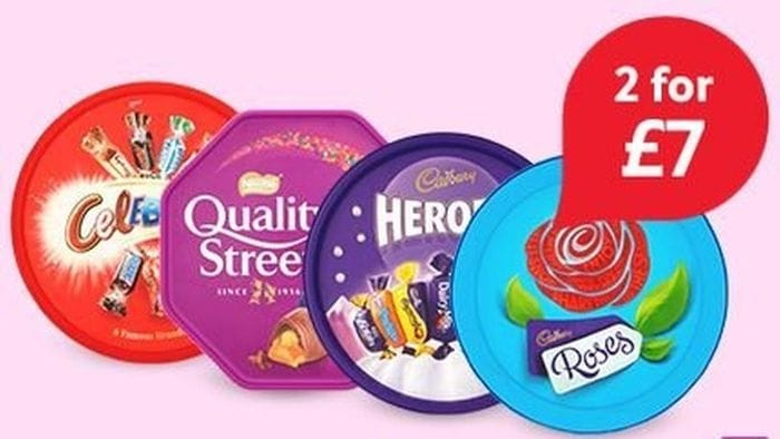 2 for £7 Chocolate Tub Quality Street,Celebrations,Roses & Heroes Clubcard Price