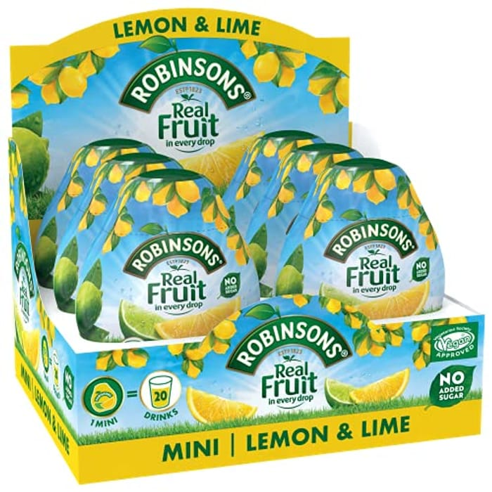 Robinsons Mini No Added Sugar Lemon and Lime , 6 X 66 Ml Packs - Only £6.61!