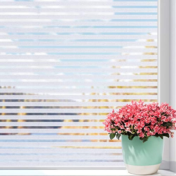 Static Cling Frosted Stripe Window Privacy Film - 30x100cm