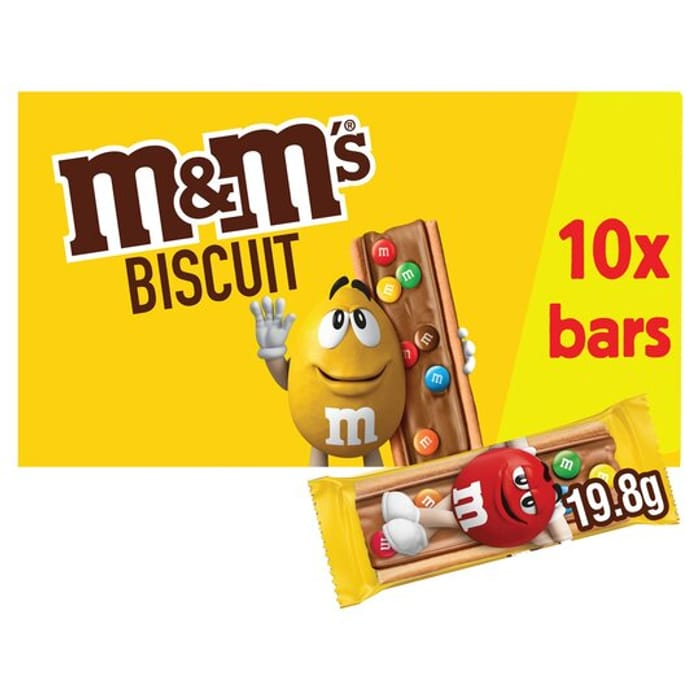 M&M's Chocolate Biscuit Bar 10Pack Multipack 198G