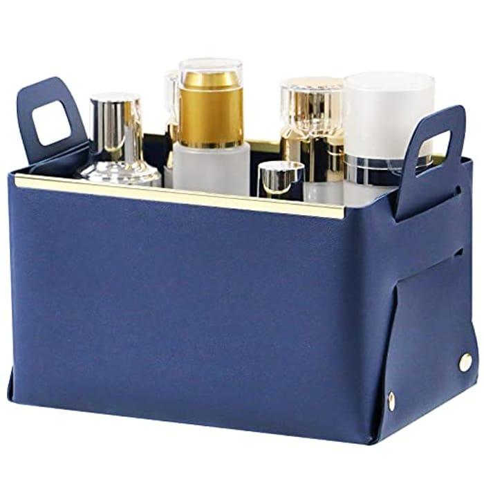 Olrla Waterproof Foldable Small Storage Basket with Handles - Size: 22x14x12.5cm