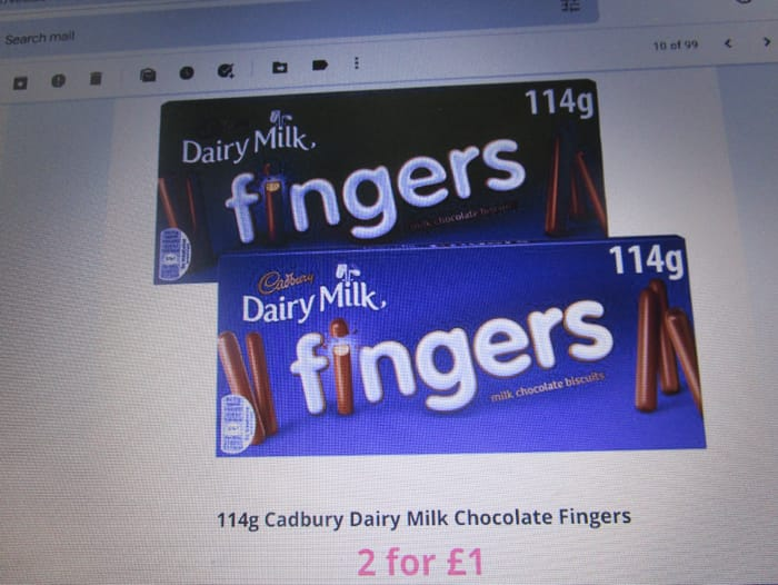 114g Cadbury Dairy Milk Chocolate Fingers 2 for £1