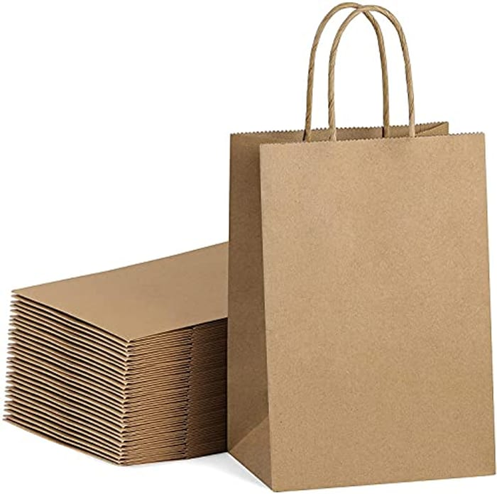 30 Pcs Kraft Paper Gift Bags with Twisted Handles with £10 off Coupon