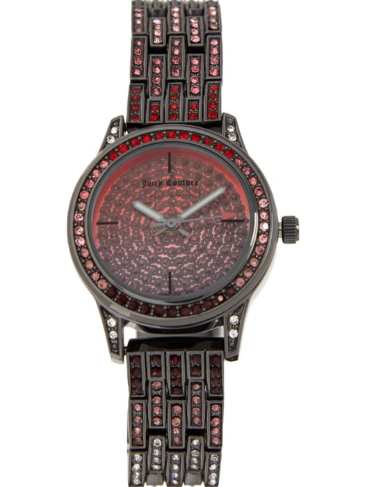 JUICY COUTURE Red & Gunmetal Tone Watch