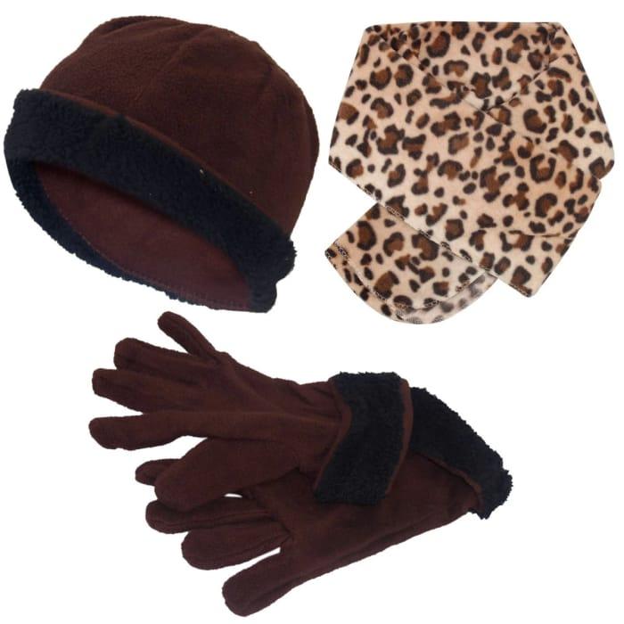 Zoom -70% in Stock Micro Fleece Hat Scarf Gloves Set