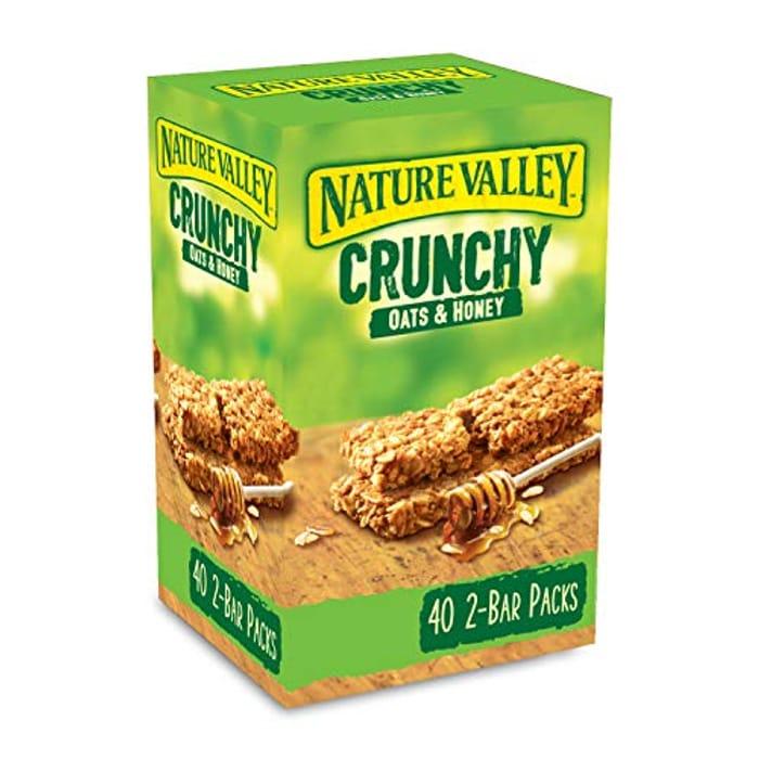 Nature Valley Crunchy Granola Bars Oats 'N' Honey, Pack of 40 Bars
